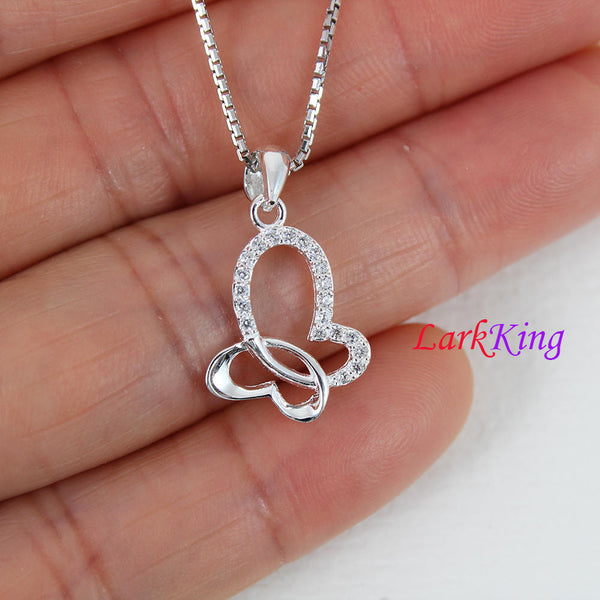 Sterling silver heart necklace, double heart necklace, butterfly necklace, unique heart necklace, crystal heart necklace, Larkking LK9208