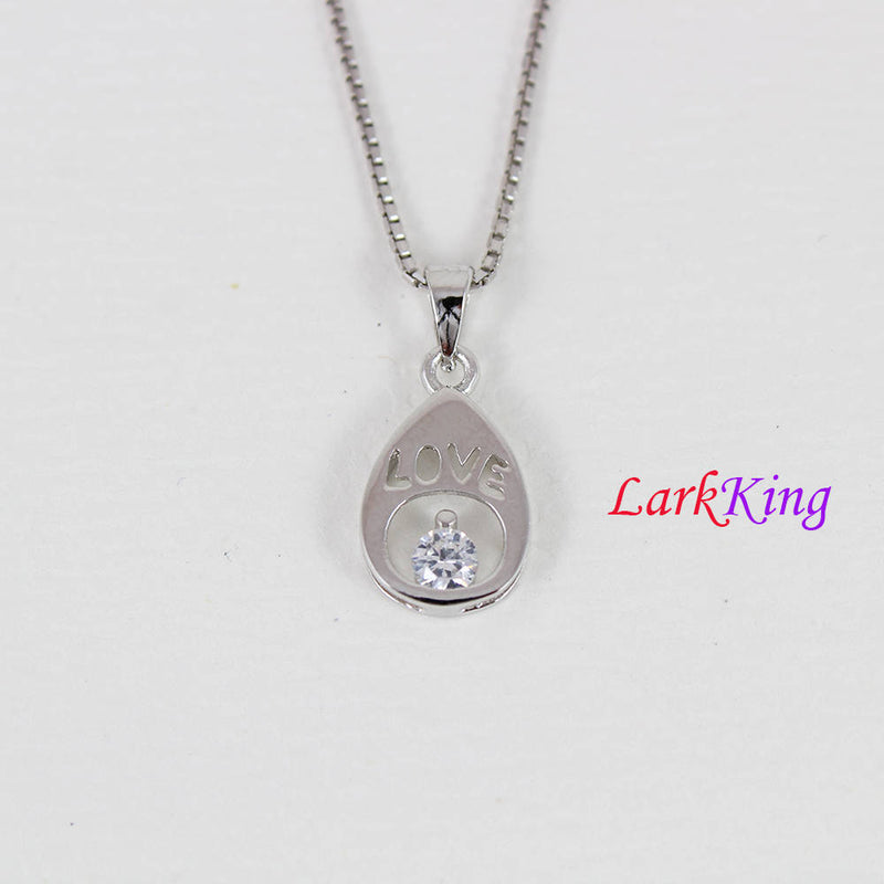 Sterling silver heart drop necklace, love necklace, white zircon crystal drop necklace, drop with love  pendant, valentine's gift, LK9206