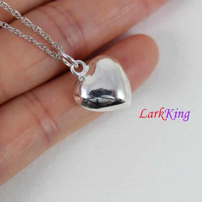 Sterling silver heart necklace, unique heart pendant, heart jewelry, heart necklace women, heart necklace men, valentine's gift, LK9204