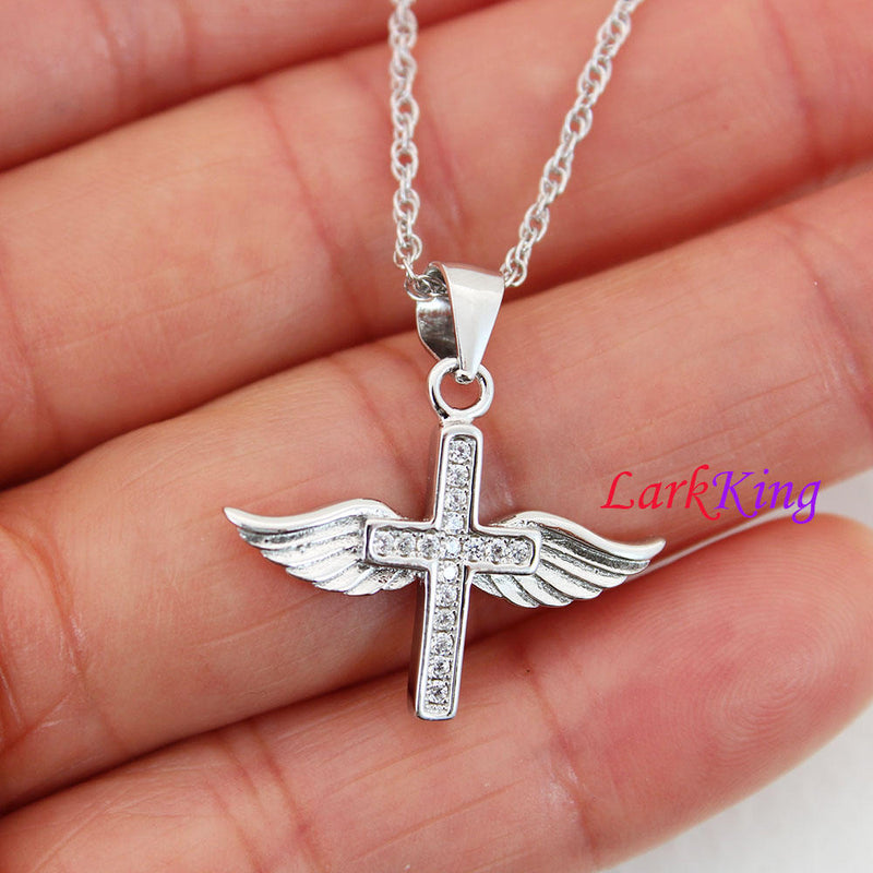 Sterling silver wings cross necklace, small cross necklace, angel wings necklace, wings cross pendant, wings necklace, cross women, NE8419