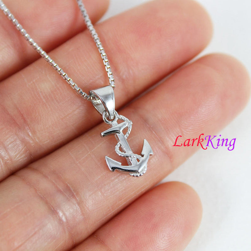 Tiny sterling silver cross anchor necklace, sailor necklace, cross rope anchor necklace, best friend necklace, boys anchor necklace, NE8423