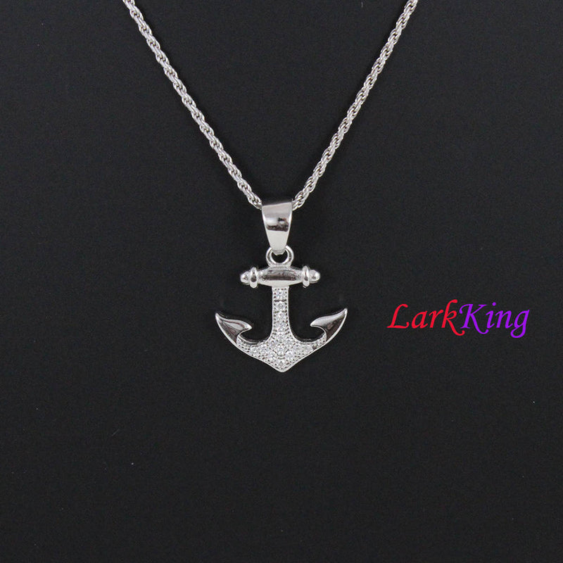 Sterling silver cross anchor necklace, sailor necklace, hooked anchor necklace, boys necklace, best friend necklace, sailing gift, NE8429