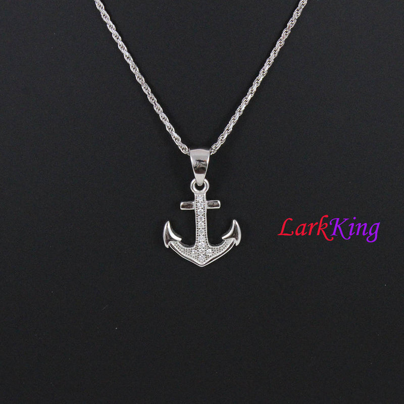 Sterling silver cross anchor necklace, sailor necklace, hooked anchor necklace, boys necklace, best friend necklace, girls necklace, NE8427
