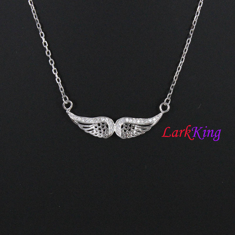 Sterling silver angel wings necklace, personalized necklace, initial necklace, wings necklace, customized necklace, unique gift, NE8412