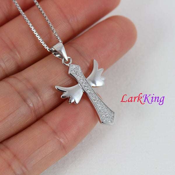 Sterling silver cross necklace, cross wings necklace, wings necklace, cross charm, girl cross, unique cross pendant, christian cross, NE8312