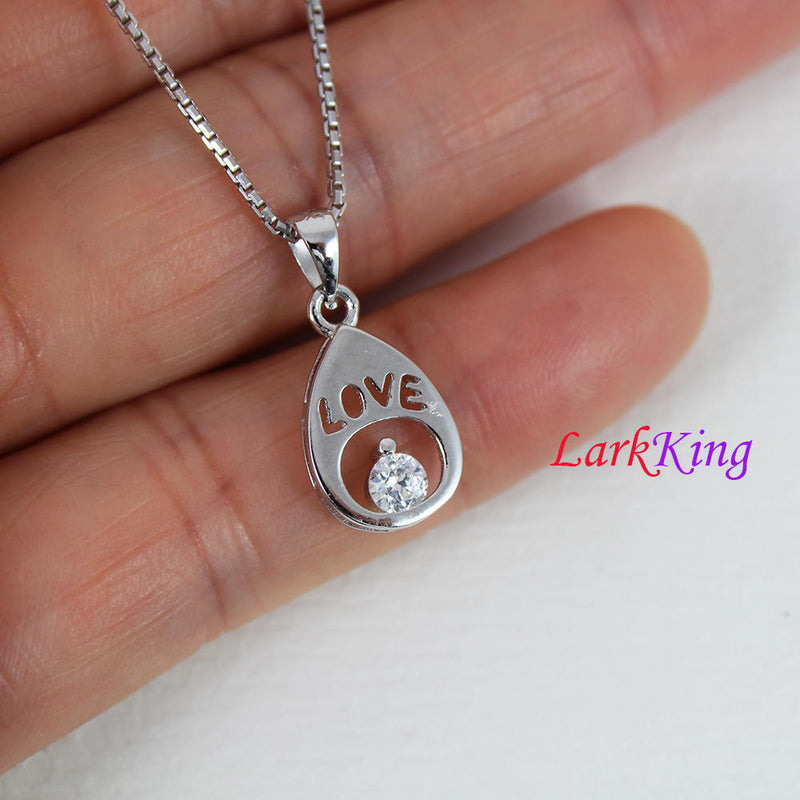 Sterling silver drop necklace, tiny white zircon drop with love pendant, personalized necklace, hand stamped necklace, love necklace PN17