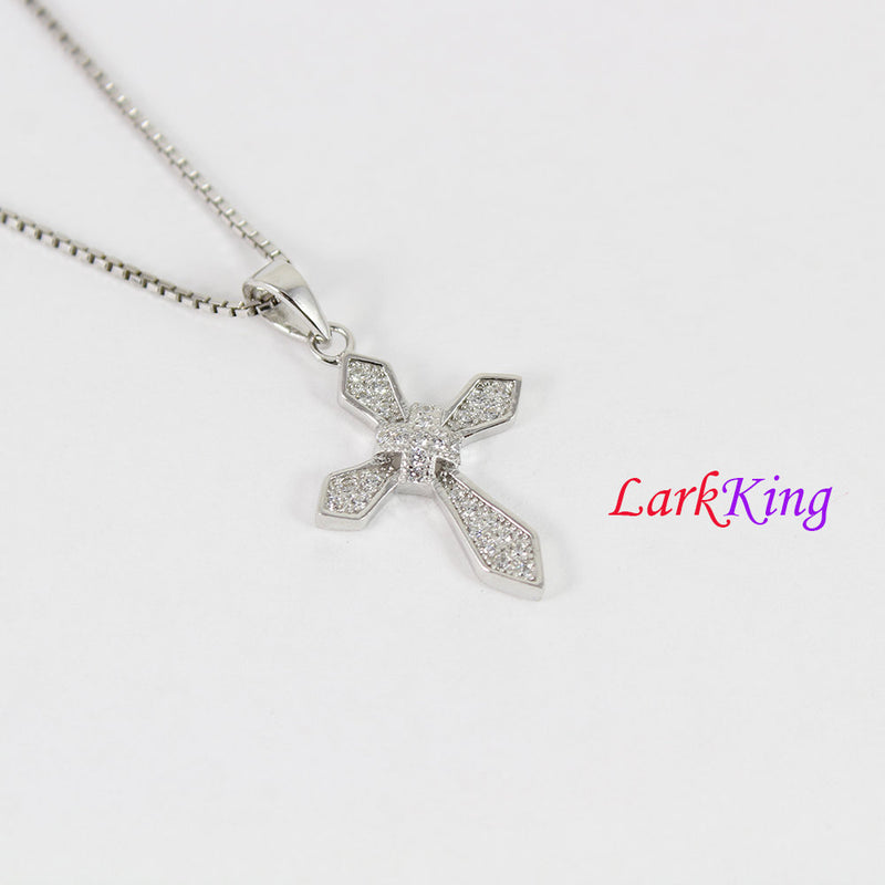 Sterling silver cross necklace, double layers cross pendant, cross necklace women, religious necklace, baptism cross, cross jewelry, NE8400