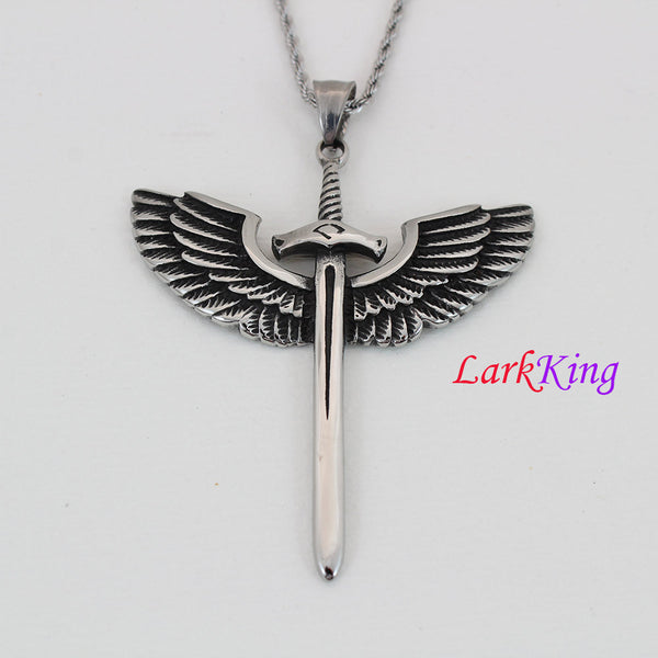 Large cross necklace, unique sword with wing cross pendant, sword necklace, wings necklace, worrier necklace, sword necklace for men, NE5059