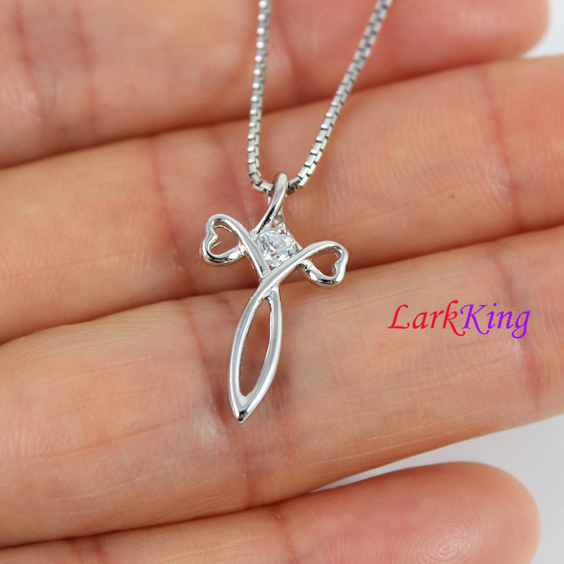 Tiny cross necklace, heart cross necklace, silver infinity cross, girl cross, necklace cross, religion necklace, christian jewelry,  NE8327