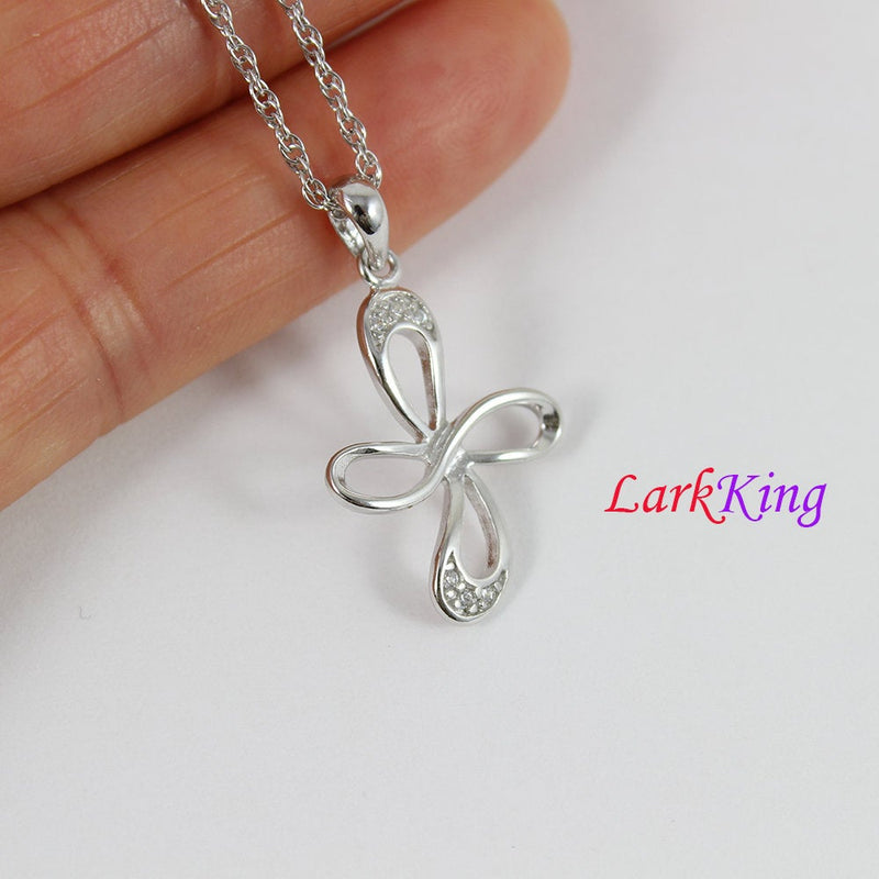 Sterling silver small cross necklace, infinity cross necklace, infinity necklace, religion necklace, unique cross pendant,  NE8316