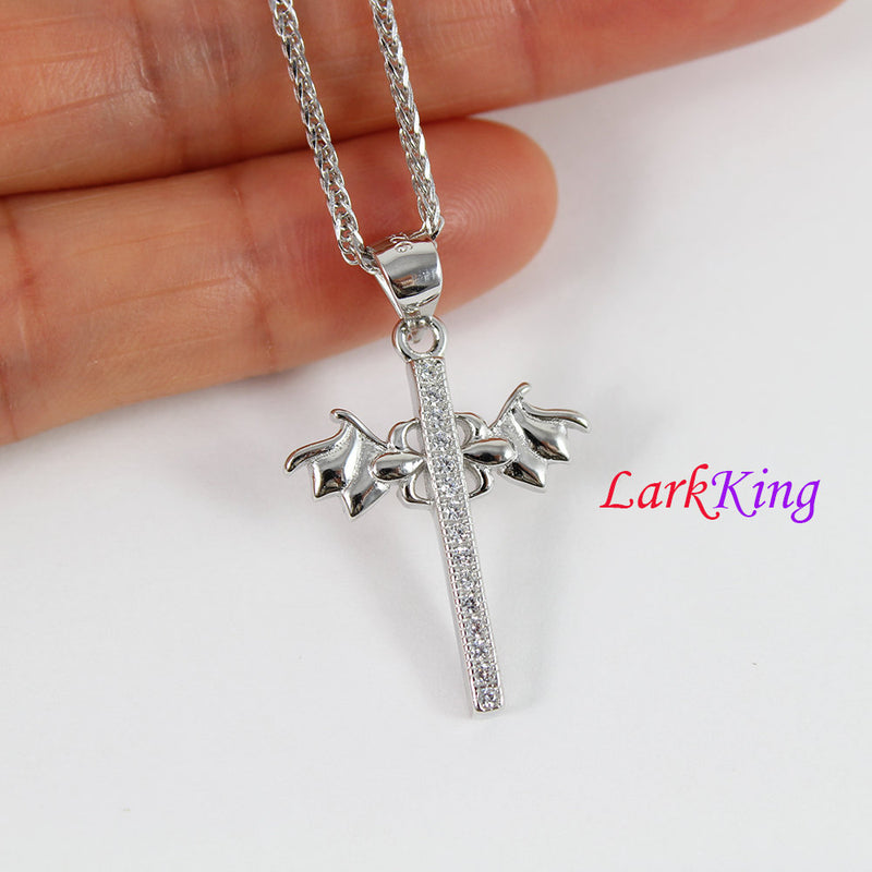Sterling silver cross necklace, wings necklace, wings cross necklace, unique cross pendant,christian necklace, christian cross, NE8317