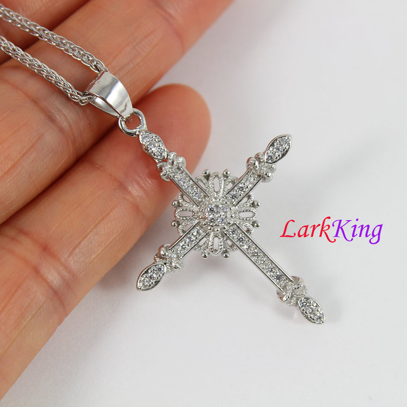 Sterling silver cross necklace, flower cross necklace, unique cross pendant, cross for women, christian gift, christian cross, NE8318