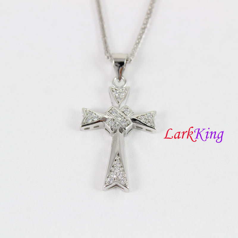 Sterling silver cross necklace, double cross pendant, zircon crystal cross , unique cross pendant, Baptism cross, christian cross, NE8321