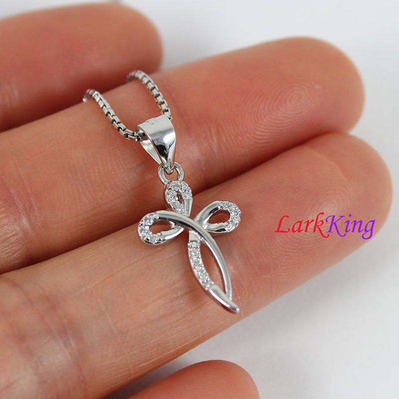 Tiny cross necklace, infinity cross necklace, sterling silver, girl cross, necklace cross, religion necklace, christian jewelry,  NE8333