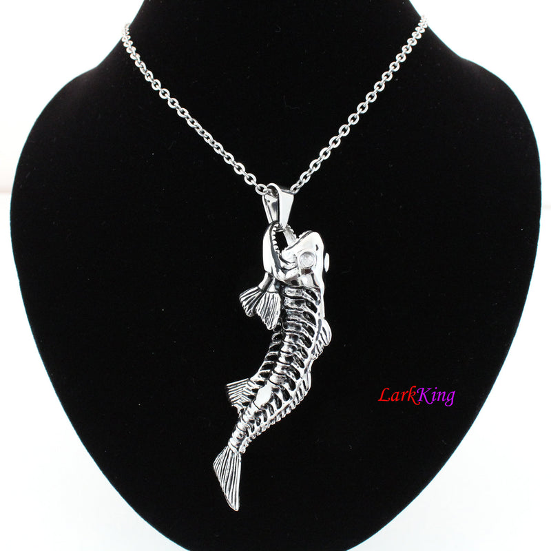 Fish necklace, animal necklace, stainless steel, fish skeleton, fish charm, fish pendant, anatomical jewelry, anatomical necklace, NE7012