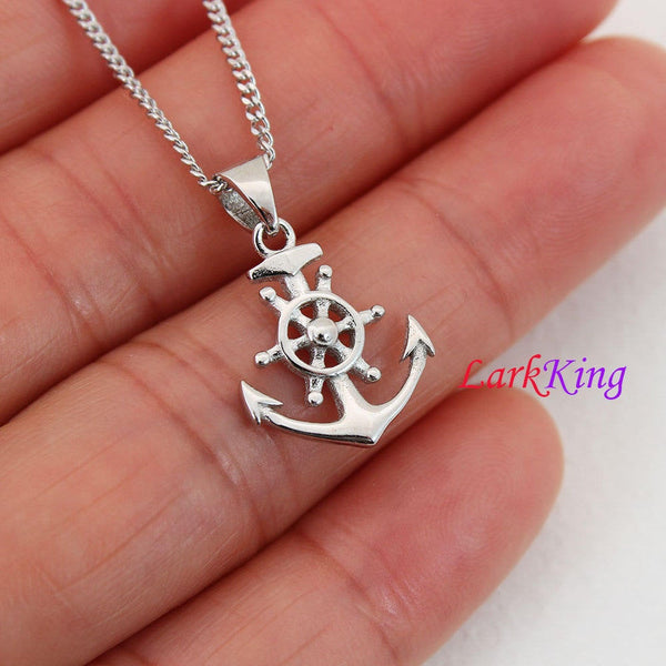 Sterling silver ship steering wheel anchor necklace, sailor necklace, small anchor necklace, best friend necklace, boys necklace, NE8416