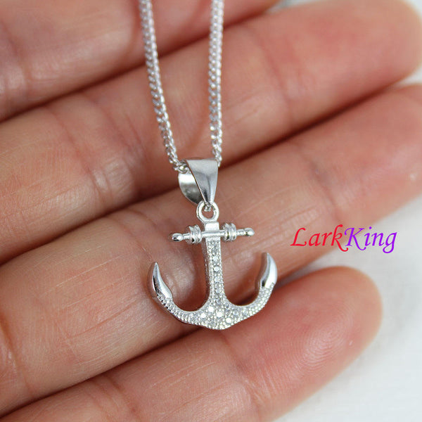 Sterling silver cross anchor necklace, sailor necklace, hooked anchor necklace, boys necklace, best friend necklace, sailing gift, NE8422