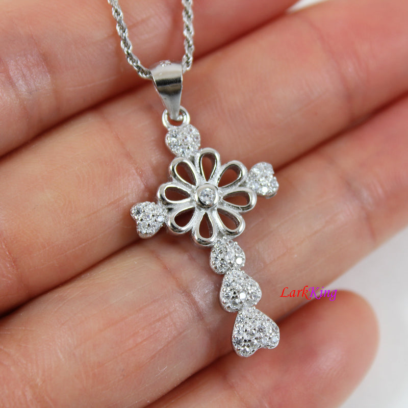 Cross necklace, cross heart necklace, sterling silver, cross flower necklace, religious necklace, girl cross necklace, baptism gift, NE8223