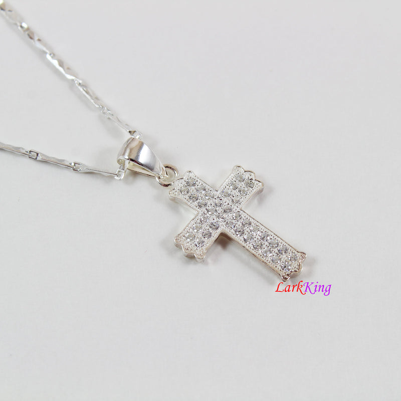 Sterling silver cross necklace, silver cross, cross pendant, cross charm, crystal cross, silver necklace, affordable fashion jewelry, NE116