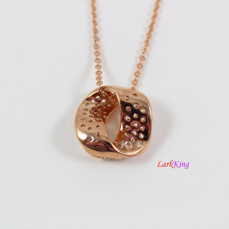 Rose gold filled stainless steel necklace, crystal, zircon crystal, rose gold filled necklace, personalized necklace, PN63