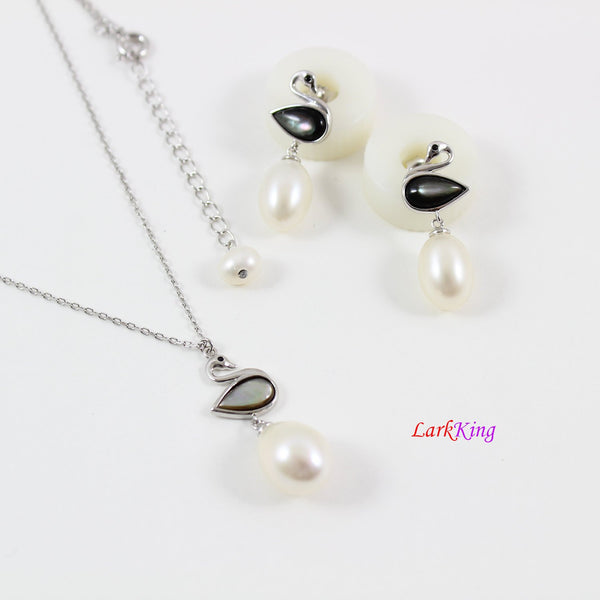 Sterling silver pearl necklace and earrings set, swan pearl necklace, bridal  necklace set, swan necklace set, bridesmaid gift, LK10002