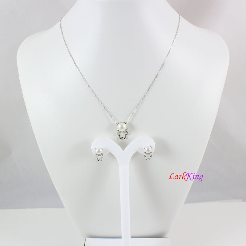 Pearl necklace and earring set, sterling silver jewelry set,pearl necklace,pearl doll necklace earring set,pearl jewelry set, LK10003