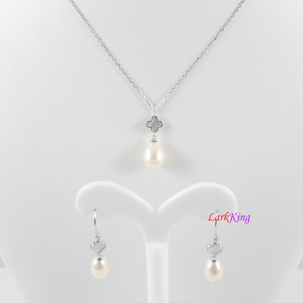 Sterling silver pearl necklace and earring set,pearl necklace,pearl earrings,bridal jewelry set,teardrop jewelry,lucky leaf necklace LK10009
