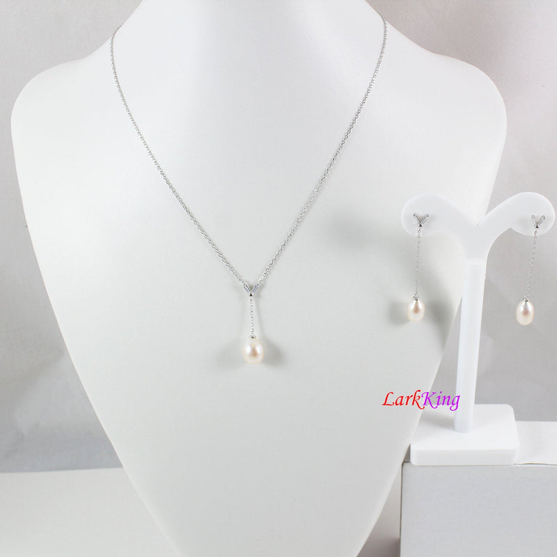 Sterling silver pearl necklace and earring set,pearl necklace, pearl earrings,bridal jewelry set,teardrop jewelry,wedding jewelry, LK10007