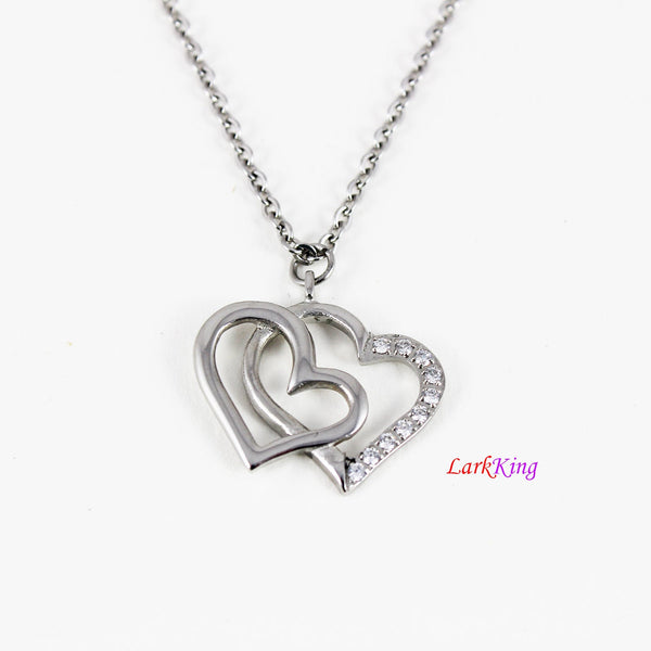 Heart necklace, double heart necklace, stainless steel, double heart, heart charm, gifts for Her, heart pendant, his and her necklace NE6622