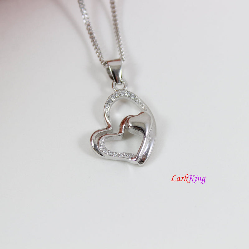 Sterling silver heart necklace,generations necklace for grandma and mom,triple hearts for granddaughters,mother's day gift,Larkking LK9224