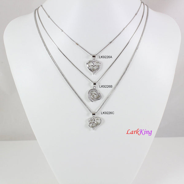 Sterling silver heart necklace,double heart necklace,mother and daughter necklace,heart necklace for mom,mother's day gift, Larkking LK9226