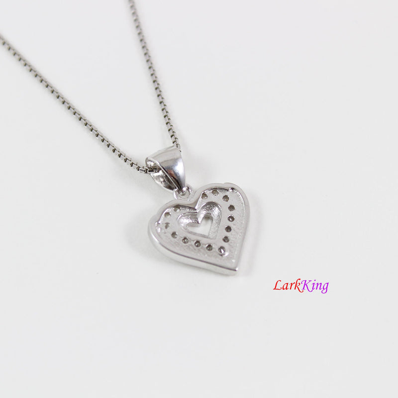 Sterling silver heart necklace,mother and daughter necklace,double hearts necklace,heart necklace mom,mother's day gift,silver heart, LK9228