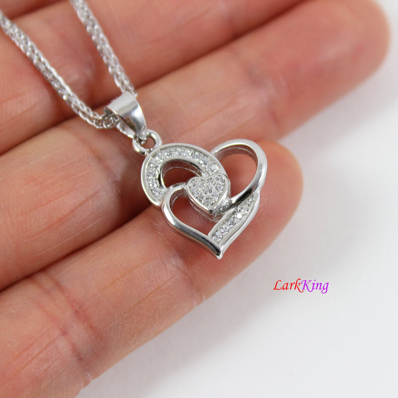 Sterling silver heart necklace,generations necklace for grandma,triple hearts for mom and granddaughter,mother's day gift,Larkking LK9230