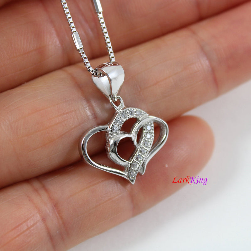 Sterling silver heart necklace,mother and daughter necklace,double heart necklace for mom and daughter,heart necklace women,Larkking  LK9255