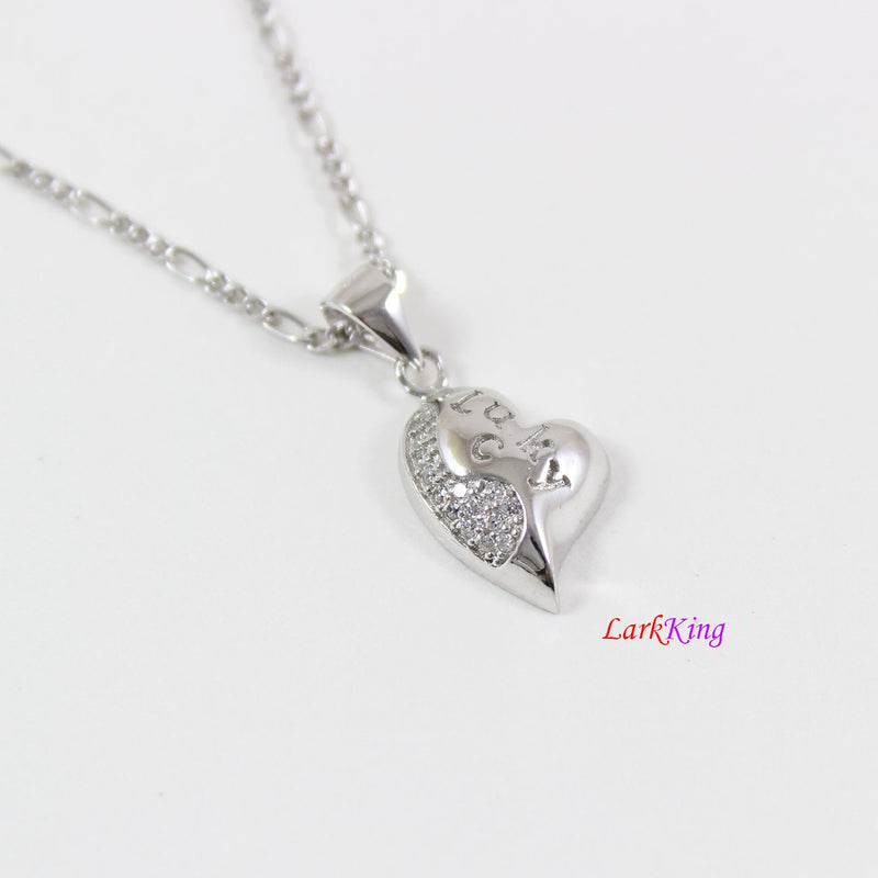 Tiny heart necklace,sterling silver lucky heart necklace,silver heart necklace for girl,best friend heart necklace,valentine day gift,LK9262