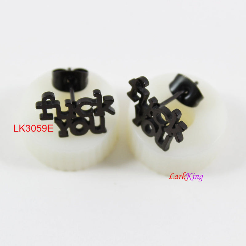 Stud earrings, FUCK earrings, FUCK studs, black studs;  FUCK stud earrings, statement stud earrings, unique stud earrings, LK3059