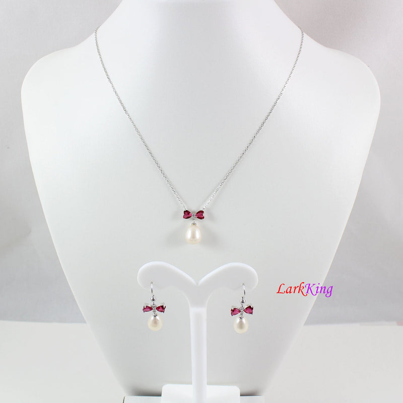 Sterling silver pearl necklace and earring set, pearl necklace, pearl earrings, bridal jewelry set, pink crystal bow jewelry set, LK10014