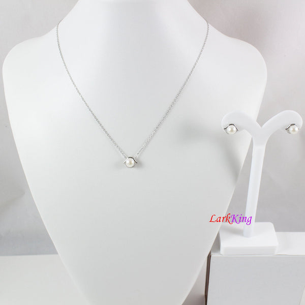 Pearl necklace and earring set, sterling silver jewelry set, lips pearl necklace, pearl necklace and earring set for prom, Larkking LK10015