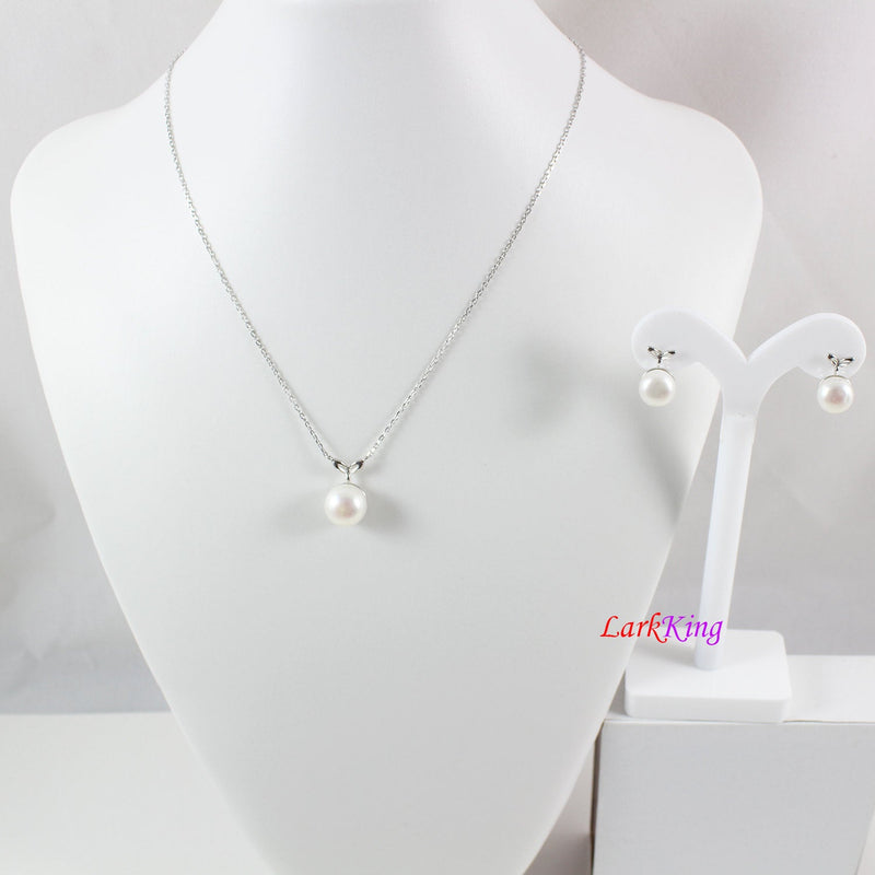 Sterling silver pearl necklace and earring set, pearl necklace, pearl earrings, bridal jewelry set, anniversary necklace set, LK10011