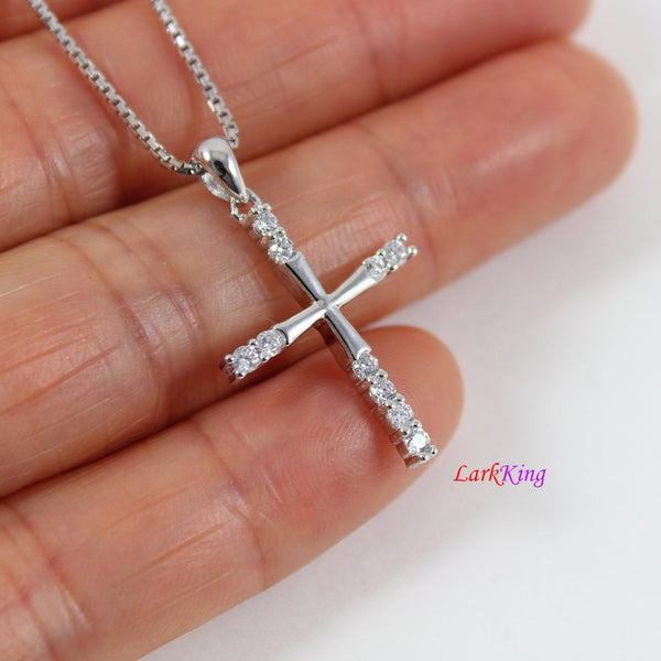 Sterling silver cross necklace, small cross necklace, simple cross necklace, zircon cross pendant, christian cross, religion jewelry, NE8353