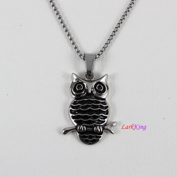 Owl necklace, animal necklace, stainless steel, owl head necklace, owl pendant, unique owl necklace, popular owl necklace, NE7007