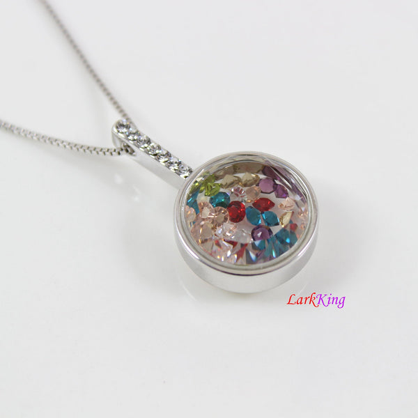 White gold filled stainless steel circle necklace with loose colorful crystals in the chamber, gifts for teenagers, locket necklace, PN52