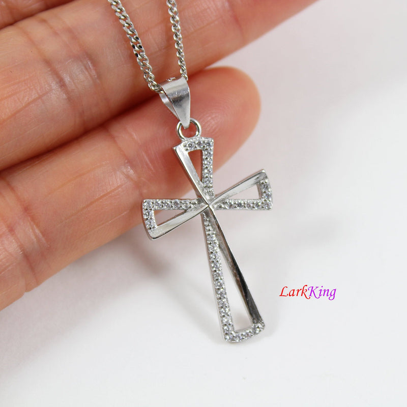 Sterling silver cross necklace, cross necklace, unique cross pendant, cross necklace women, cross necklace girl, christian jewelry,  NE8434