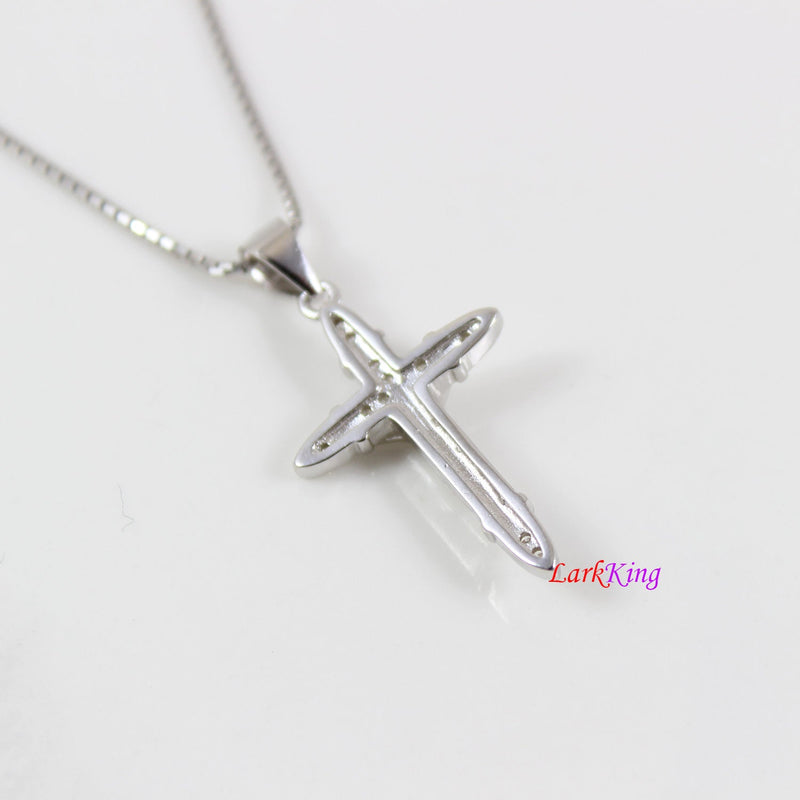 Sterling silver cross necklace, thick Jesus cross pendant, crucifix cross, cross necklace boy, religious cross, first communion gift, LK8437