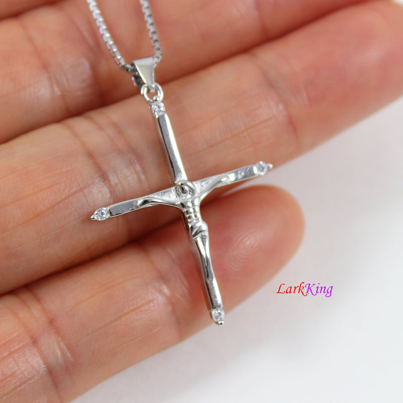 Sterling silver cross necklace, Jesus cross, crucifix cross, crucified cross, cross for men,religious cross, first communion gift, LK8438