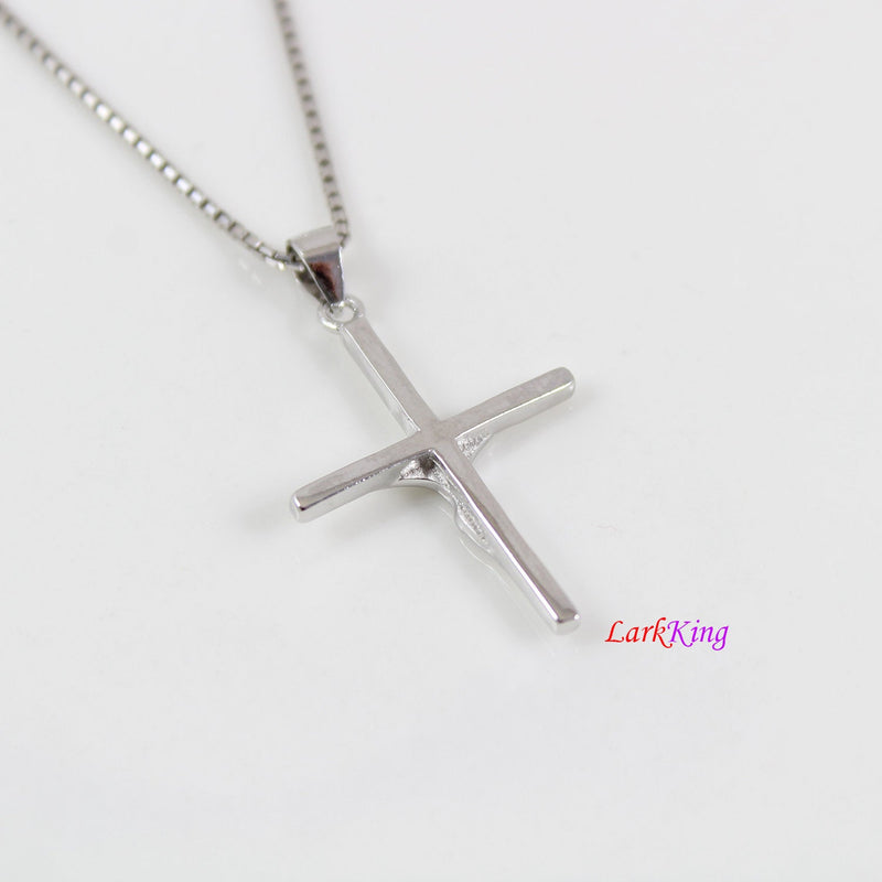 Sterling silver cross necklace, Jesus cross, crucifix cross, crucified cross, cross necklace men, cross for boy, first communion gift,LK8440