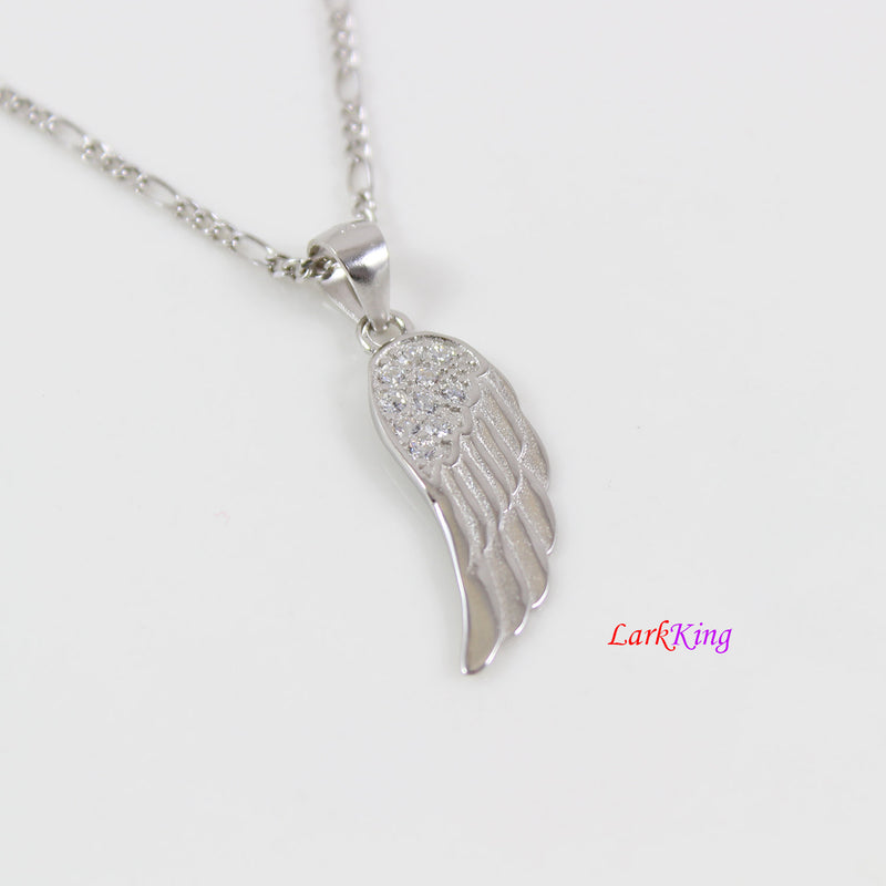 Sterling silver wing necklace, angel wing necklace, wing necklace for girl, wing necklace for women, silver wing with zircon crystal, LK8443
