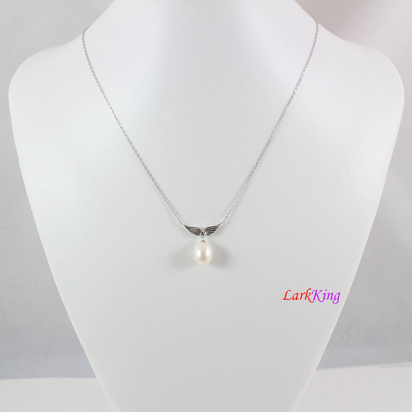 Sterling silver pearl necklace earrings set,pearl necklace,pearl jewelry,bridal  necklace set,bridesmaid jewelry set,wing jewelry, LK10001