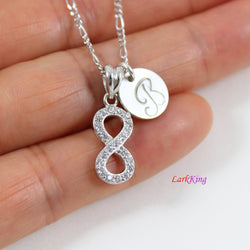 Sterling silver infinity necklace, personalized infinity necklace, hand stamped initial necklace, best friend necklace, mom necklace, LK8454