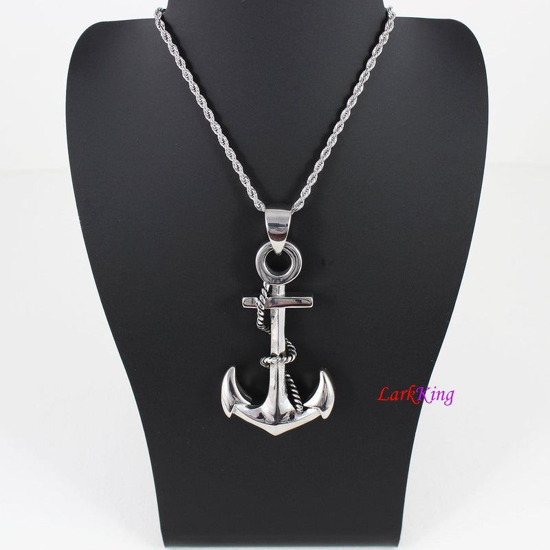 Double sided large rope anchor necklace, cross rope anchor pendant, sailor necklace, men necklace, boys necklace, charm anchor, NE7114